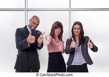 feliz, pulgares arriba, equipo negocio