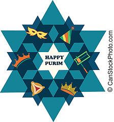 feliz, purim., david, estrela, com, objetos, de, feriado judeu