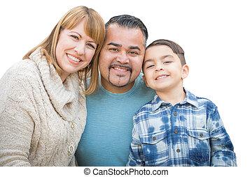feliz, raça misturada, hispânico, e, família caucasiana, isolado, ligado, um, branca, experiência.