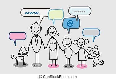 feliz, rede, família, social