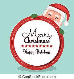 feliz, redondo, desenho, santa, rosto, cartão natal