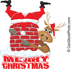 feliz, &, -, rena, santa, natal