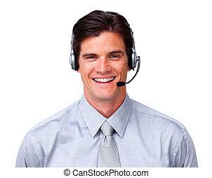 feliz, representante serviço cliente, com, headset, ligado