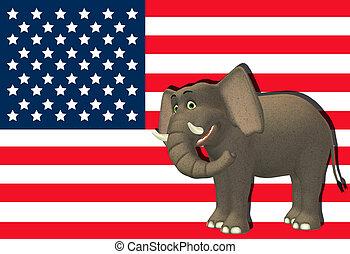 feliz, republicano, elefante
