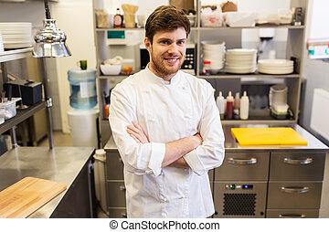 feliz, restaurante, chef, cocinero, macho, cocina