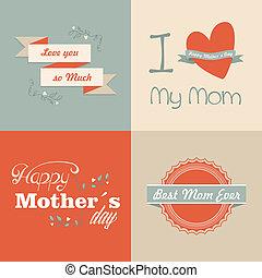 feliz, retro, dia, mães