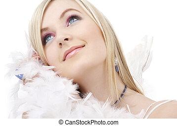 feliz, rubio, ángel, niña, con, boa de la pluma