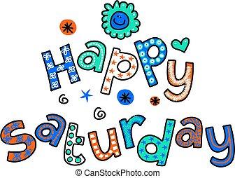 feliz, sábado, caricatura, texto, clipart
