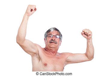 Feliz,  Sênior, excitado,  shirtless, homem