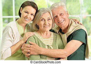 feliz, sênior, pais, com, filha
