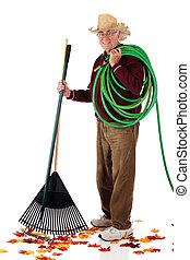 feliz, sênior, yard-worker