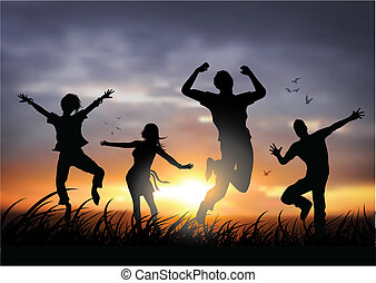feliz, saltar, gente
