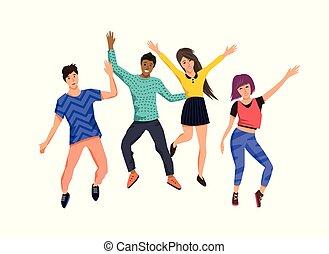 feliz, saltar, grupo, jóvenes