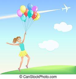 feliz, saltar, niña, con, globos coloridos, en, el, lawn.