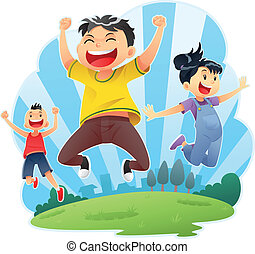 feliz, saltos
