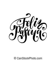 feliz, saludo, manuscrito, pascua, pascua, vector., español,...