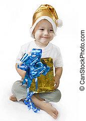 feliz, santa, menino, segurar um presente