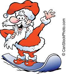feliz, santa, snowboard