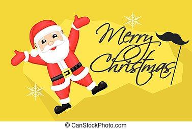 feliz, santa, tarjeta de navidad