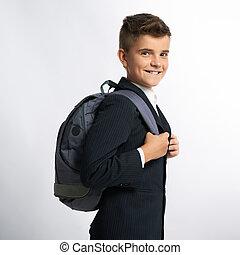 feliz, schoolbags, colegial