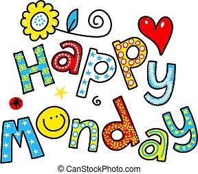 feliz, segunda-feira, caricatura, texto, clipart