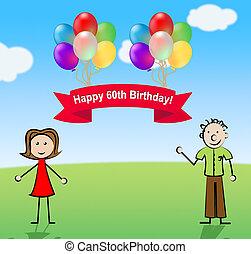feliz, sexagésimo, partido aniversário, celebração, 3d, ilustração