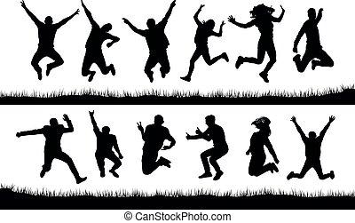 feliz, silhuetas, pular, pessoas