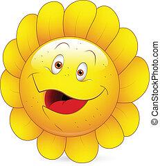 feliz, smiley, girassol, rosto