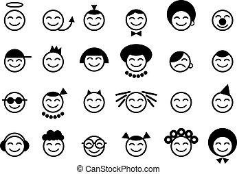 feliz, smileys, rosto
