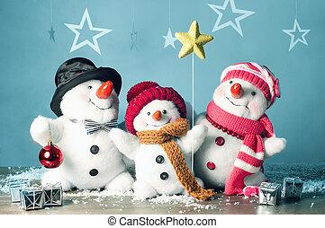 feliz, snowman, familia , en, el, nieve