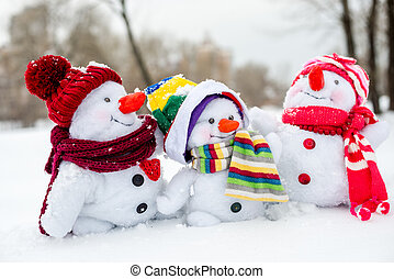 feliz, snowman, familia