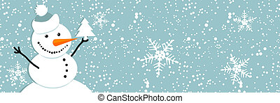 feliz, snowman, tarjeta de navidad