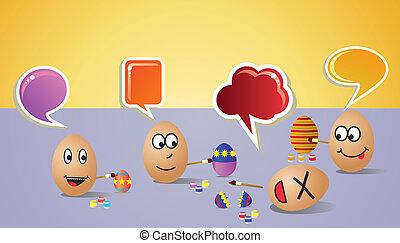 feliz, social, pintores, huevos de pascua