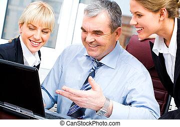 feliz, socios de negocio
