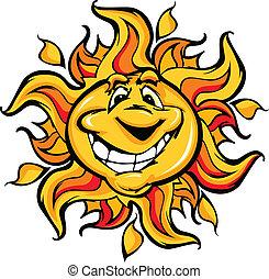 feliz, sol, caricatura, con, un, sonrisa grande