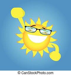 feliz, sol, manos, carácter, arriba, tropical, uso, isla, anteojos, caricatura, vista
