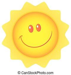 feliz, sol, mascote, personagem