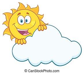 feliz, sol, se esconder atrás, nube