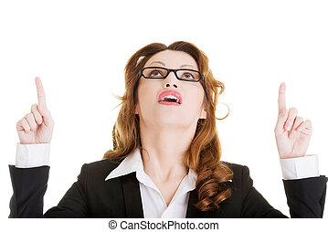 feliz, sucesso, mulher negócio, apontar