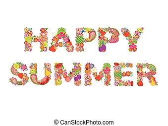 feliz, summer., flores, e, frutas, impressão