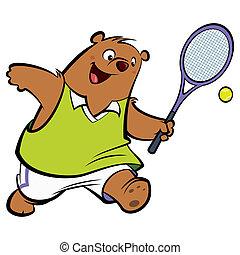 feliz, tênis, tocando, urso, caricatura