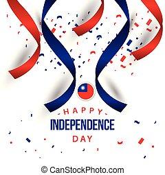 feliz, taiwan, dia independência, vetorial, modelo, desenho,...