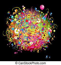 feliz, tarjeta, ballons, feriado, divertido