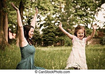 feliz, tempo, -, mãe, com, dela, criança