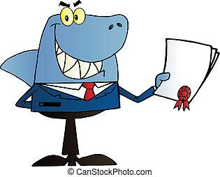 feliz, tiburón, hombre de negocios