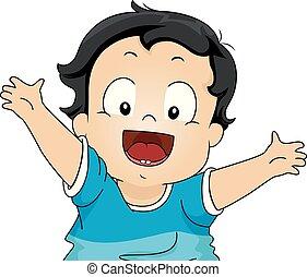 feliz, toddler, ilustração, dentes