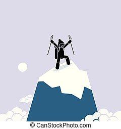 feliz, topo, homem, mountain., prosperamente, escalar