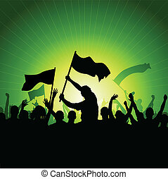 feliz, torcida, com, bandeiras