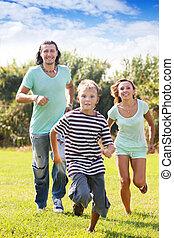feliz, três, família, sporty