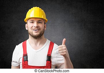 feliz, trabajador, actuación, pulgares arriba, señal
